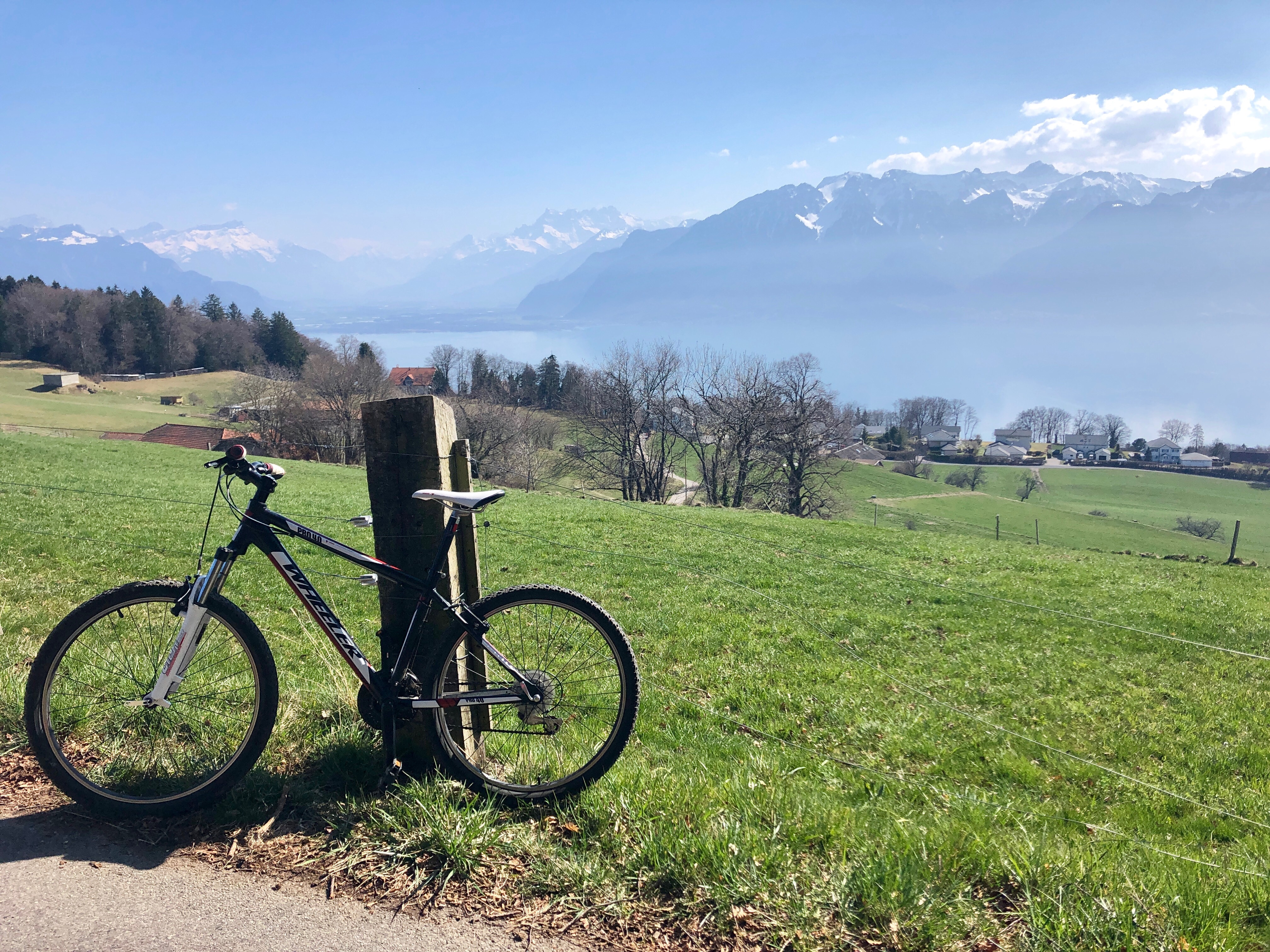 Mountain bike above Vevey, overlooking Swiss & French Alps